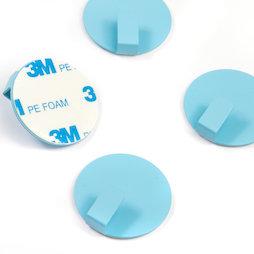 SALE-115, Metallhaken selbstklebend, rund, blau, 4er-Set, keine Magnete!