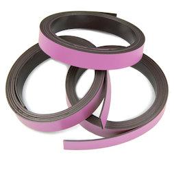 MT-10/pink, Nastro magnetico colorato 10 mm, da ritagliare per etichettare, rotoli da 1 m, rosa
