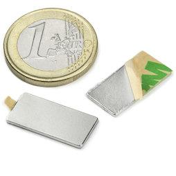 Q-20-10-01-STIC, Parallelepipedo magnetico (autoadesivo) 20 x 10 x 1 mm, neodimio, N35, nichelato