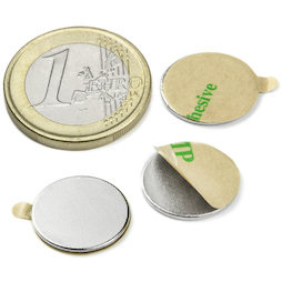 S-15-01-STIC, Disc magnet (self-adhesive) Ø 15 mm, height 1 mm, neodymium, N35, nickel-plated