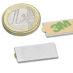 Q-25-12-01-STIC, Parallélépipède magnétique autocollant 25 x 12 x 1 mm, néodyme, N35, nickelé