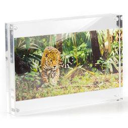 FRM-10, Marco de fotos 21 x 15 cm, con cierre magnético, de cristal acrílico (transparente), para formato horizontal y vertical