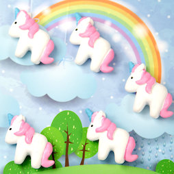 LIV-115, Unicorn, fridge magnets shaped as unicorns, white-pink, set of 5