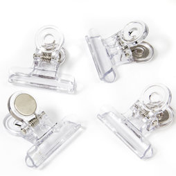 LIV-113, Magnetic clips transparent, made of plastic, set of 4