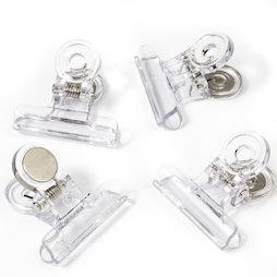 LIV-113, Magnetklammern transparent, aus Kunststoff, 4er-Set