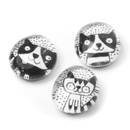 LIV-121/black, Cats, handmade fridge magnets, set of 3, black-white