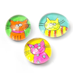 LIV-121/neon, Cats, handmade fridge magnets, set of 3, neon colours
