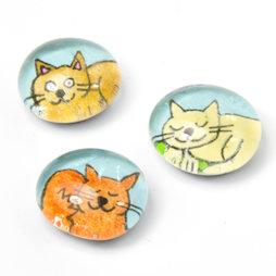 LIV-121/colored, Cats, handmade fridge magnets, set of 3, coloured