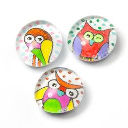 LIV-120/owl, Animales de culto, imanes de nevera hechos a mano, 3 uds., búho