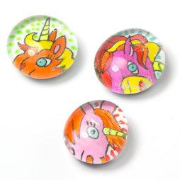 LIV-120/unicorn, Animaux cultes, aimants pour réfrigérateur faits main, lot de 3, licorne