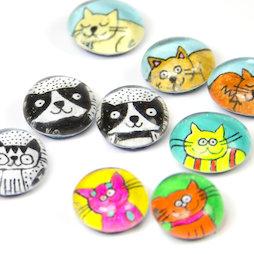 LIV-121, Cats, handmade fridge magnets, set of 3