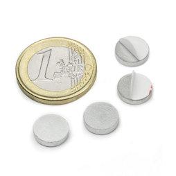PAS-10, Disque métallique autocollant Ø 10 mm, contre-pièce pour aimants, non magnétique !