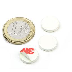 PAS-13-W, Disco metálico autoadhesivo blanco Ø 13 mm, como contrapieza para imanes, ¡no es un imán!