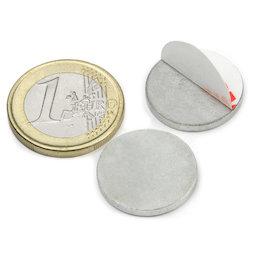 PAS-20, Disque métallique autocollant Ø 20 mm, contre-pièce pour aimants, non magnétique !