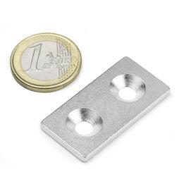 MC-40-20-03, Piastrina metallica con foro svasato 40x20x3 mm, come controparte per i magneti, non è un magnete!