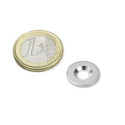 MD-15, Metal disc with counterbore Ø 15 mm, as a counterpart to magnets, not a magnet!