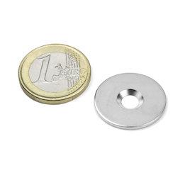 MD-23, Metallscheibe mit Senkbohrung, Ø 23 mm, als Gegenstück zu Magneten, kein Magnet!