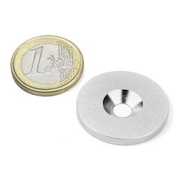 MD-27, Metallscheibe mit Senkbohrung Ø 27 mm, als Gegenstück zu Magneten, kein Magnet!