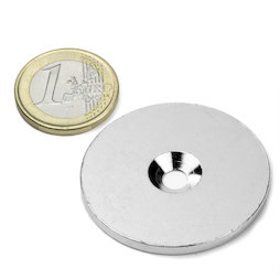 MD-42, Metal disc with counterbore, Ø 42 mm, as a counterpart to magnets, not a magnet!