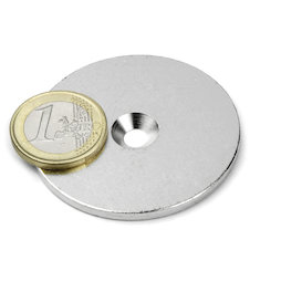 MD-50, Metal disc with counterbore Ø 50 mm, as a counterpart to magnets, not a magnet!