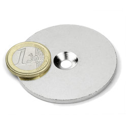 MD-52, Metal disc with counterbore Ø 52 mm, as a counterpart to magnets, not a magnet!