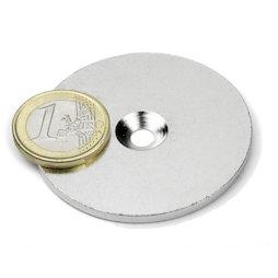 MD-52, Metallscheibe mit Senkbohrung Ø 52 mm, als Gegenstück zu Magneten, kein Magnet!