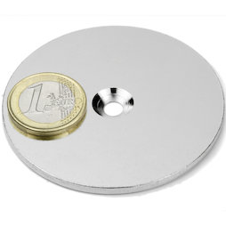 MD-65, Metal disc with counterbore, Ø 65 mm, as a counterpart to magnets, not a magnet!