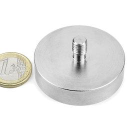 GTN-48, Aimant en pot à goupille filetée, Ø 48 mm, Pas de vis M8, force d'adhérence env. 85 kg
