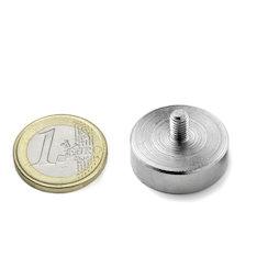 GTN-25, Aimant en pot à goupille filetée Ø 25 mm, pas de vis M5, force d'adhérence env. 25 kg