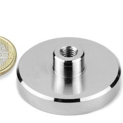 TCN-50, Aimant en pot avec manchon taraudé, Ø 50 mm, pas de vis M8