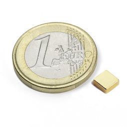 Q-05-05-02-G, Blokmagneet 5 x 5 x 2 mm, neodymium, N45, verguld