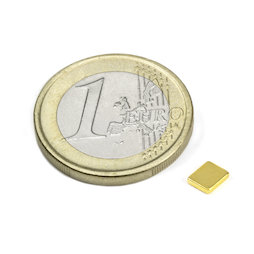 Q-05-04-01-G, Block magnet 5 x 4 x 1 mm, neodymium, N50, gold-plated