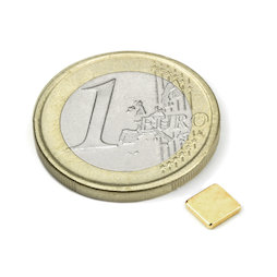 Q-CDM48-G, Blokmagneet 5 x 5 x 1 mm, neodymium, N48, verguld