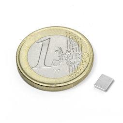 Q-05-04-01-N, Parallélépipède magnétique 5 x 4 x 1 mm, néodyme, N50, nickelé