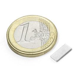 Q-10-04-01-N, Block magnet 10 x 4 x 1 mm, neodymium, N50, nickel-plated
