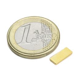 Q-10-04-1.2-G, Parallélépipède magnétique 10 x 4 x 1,2 mm, néodyme, N50, doré