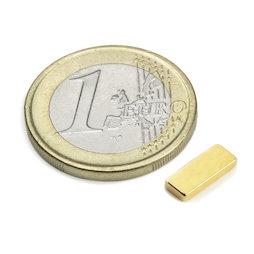 Q-10-04-1.5-G, Parallélépipède magnétique 10 x 4 x 1,5 mm, néodyme, N50, doré