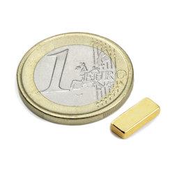 Q-10-04-02-G, Bloque magnético 10 x 4 x 2 mm, neodimio, N50, dorado