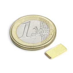 Q-10-05-1.2-G, Quadermagnet 10 x 5 x 1,2 mm, Neodym, N50, vergoldet