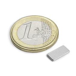 Q-10-05-1.2-N, Blokmagneet 10 x 5 x 1,2 mm, neodymium, N50, vernikkeld