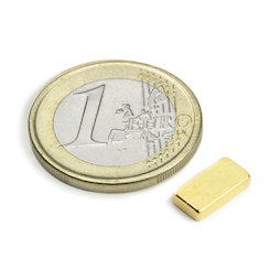 Q-10-05-02-G, Parallélépipède magnétique 10 x 5 x 2 mm, néodyme, N50, doré