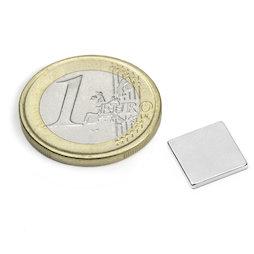 Q-10-10-1.2-N52N, Quadermagnet 10 x 10 x 1,2 mm, Neodym, N52, vernickelt