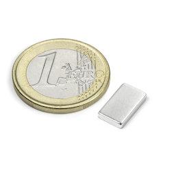 Q-12-07-02-HN, Blokmagneet 12 x 7 x 2 mm, neodymium, 44H, vernikkeld