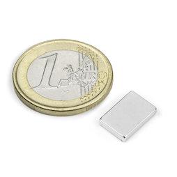 Q-12-08-02-N, Parallélépipède magnétique 12 x 8 x 2 mm, néodyme, N50, nickelé