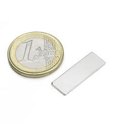 Q-25-08-01-N, Parallélépipède magnétique 25 x 8 x 1 mm, néodyme, N48, nickelé