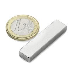 Q-40-10-05-N, Quadermagnet 40 x 10 x 5 mm, Neodym, N42, vernickelt
