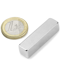 Q-40-10-10-N, Block magnet 40 x 10 x 10 mm, neodymium, N42, nickel-plated