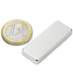 Q-40-15-05-N, Block magnet 40 x 15 x 5 mm, neodymium, N40, nickel-plated