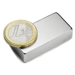 Q-40-20-10-N, Block magnet 40 x 20 x 10 mm, neodymium, N42, nickel-plated