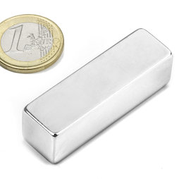 Q-50-15-15-N, Block magnet 50 x 15 x 15 mm, neodymium, N48, nickel-plated
